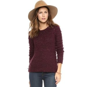 Free People September Song Fuzzy Sweater Eggplant